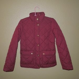 J.Crew Red Burgundy Gold Puffer Jacket